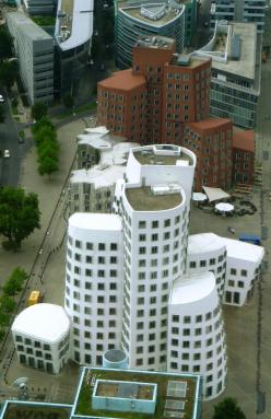 Buildings designed by arcjitect Frank Gehry in the Dusseldorf Media Harbor