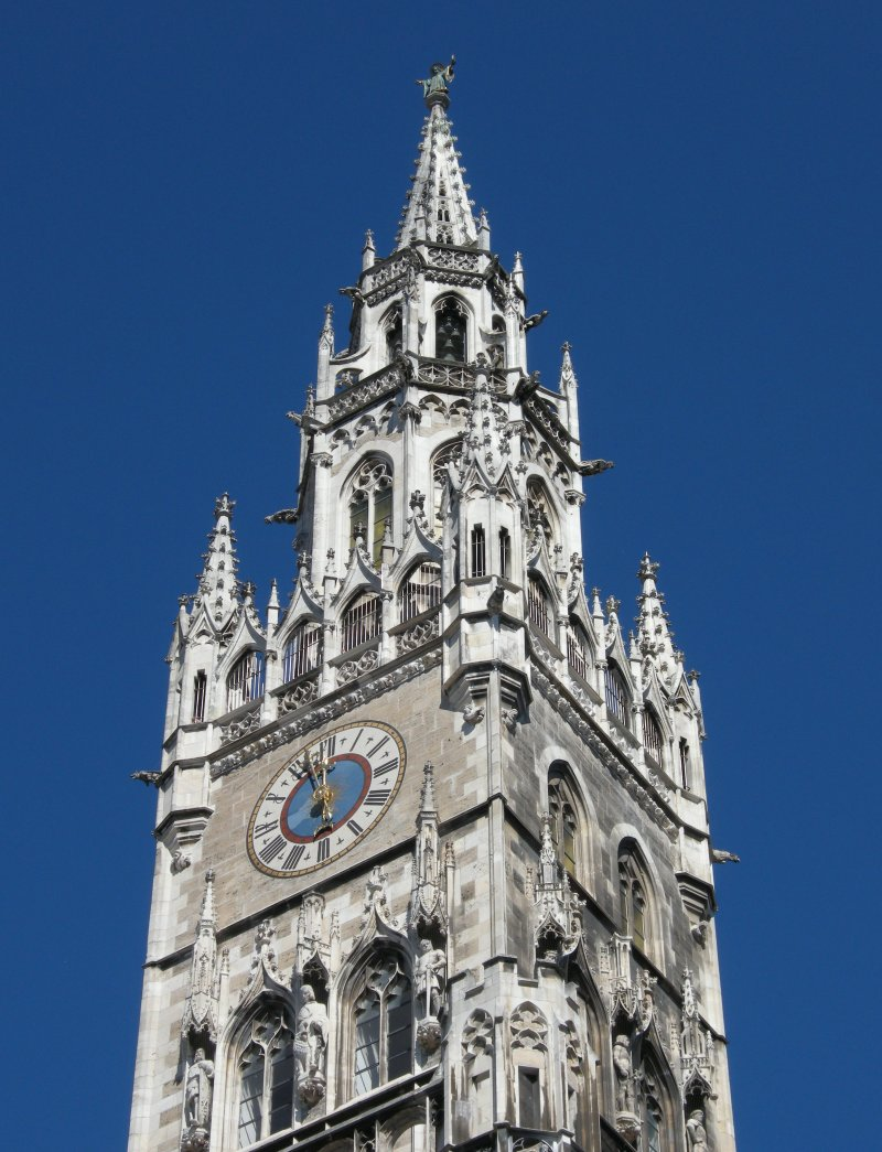 Tower on the Neues Rathaus in the Marienplatz, Munich, Germany