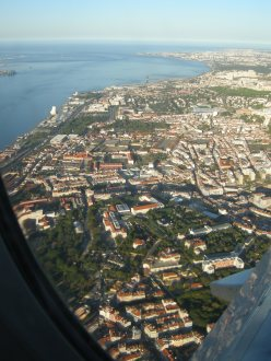 looking down on Lisbon from a descending plane