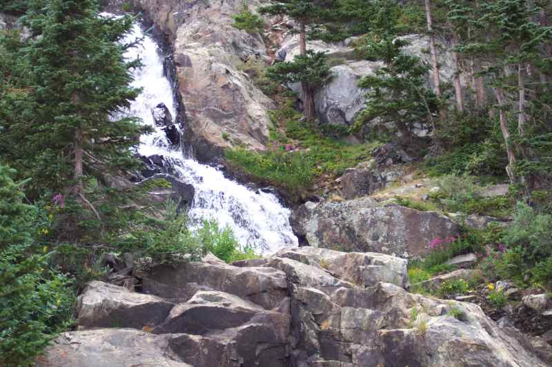 a waterfall in the Rocky Mountains