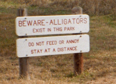 Beware of Alligators sign