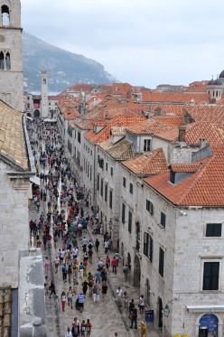 people milling about the main street of Dubrovnik, Croatia