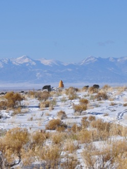 snowy scene on Christmas Day in Colorado's San Luis Valley