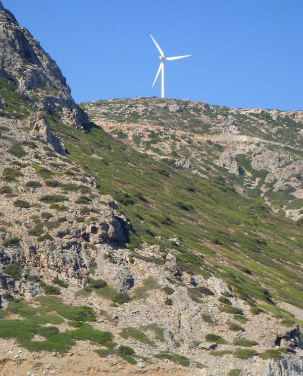 a wind turbine near Elounda, Crete, Greece