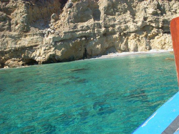 turquoise cove off the coast of Crete