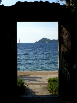 looking through a gate to the Dalmatian Coast off Croatia