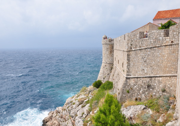 ancient Dubrovnik city walls, separating Dubrovnik from the Adriatic