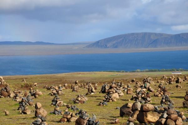 cairns on the shore of Lake Thingvallavatn, Thingvellir National Park, Iceland