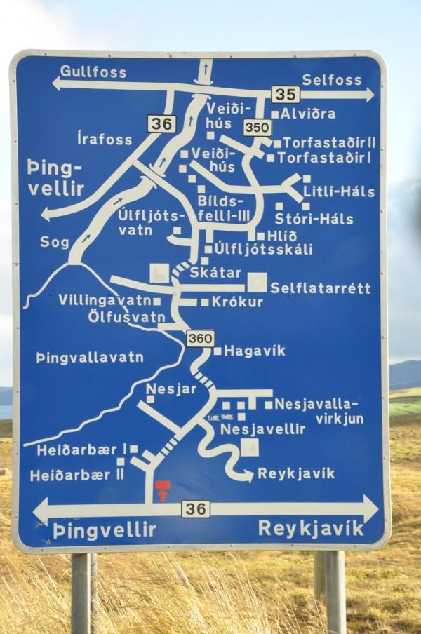 road sign outside Thingvellir National Park, Iceland