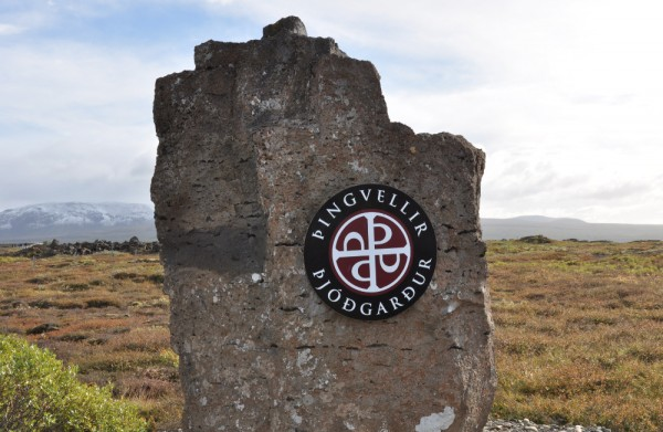 entry sign to Thingvellir National Park, Iceland