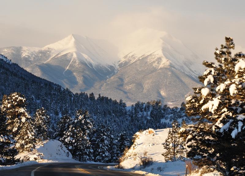 snowy mountain peaks near Johnson Village, Colorado