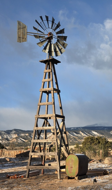 an old Baker Manufacturing windmill on a restored tower in Salida, Colorado
