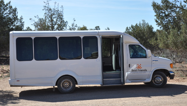 tour van at Best Friends Animal Sanctuary in Kanab, Utah
