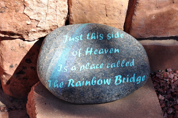 Rainbow Bridge stone at Angels Rest, Best Friends Animal Sanctuary in Kanab, Utah