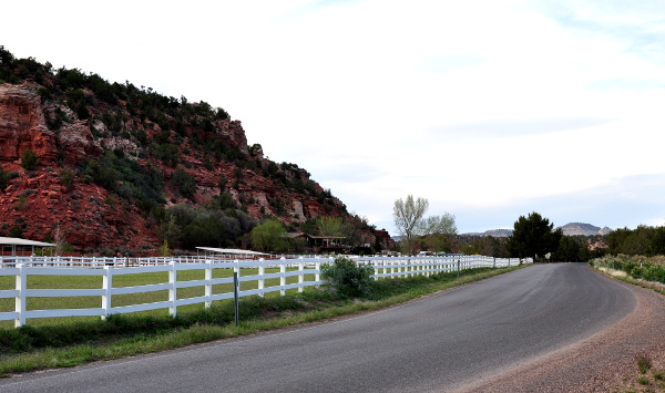 road leading into Best Friends Animal Sanctuary in Kanab, Utah