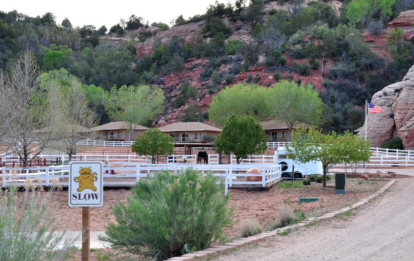 road to the cottages at Best Friends Animal Sanctuary in Kanab, Utah, with Horse Haven in the foreground