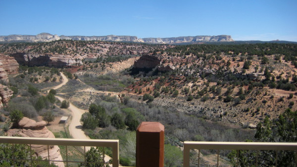 View from the outdoor dining area at Best Friends Animal Sanctuary in Kanab, Utah