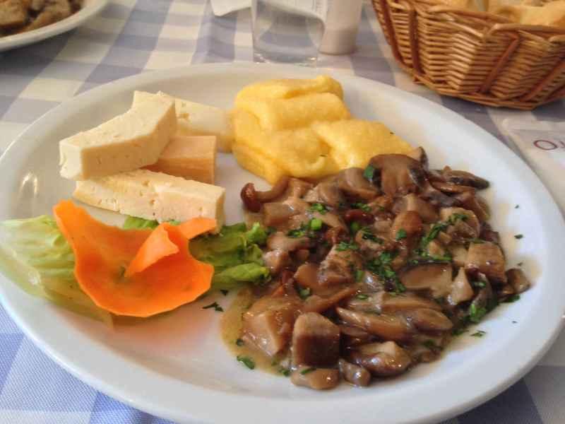 Italian feast: polenta, fall wild mushroom medley, and local artisan cheeses